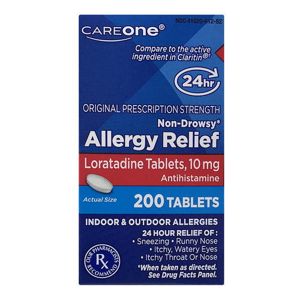CareOne 24 Hour Allergy Relief Loratadine 10 mg Non-Drowsy Tablets