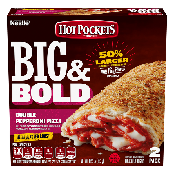 Hot Pockets Big & Bold Double Pepperoni Pizza - 2 ct