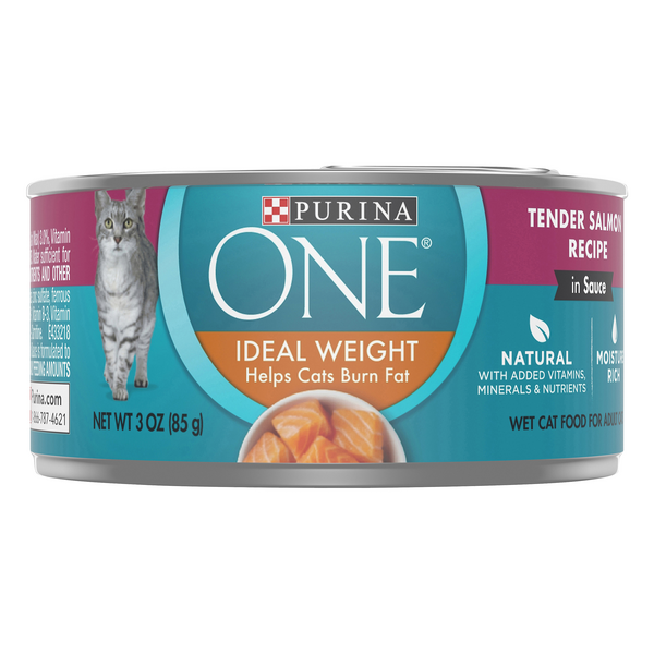 Purina ONE Ideal Weight Wet Cat Food Tender Salmon Recipe Natural