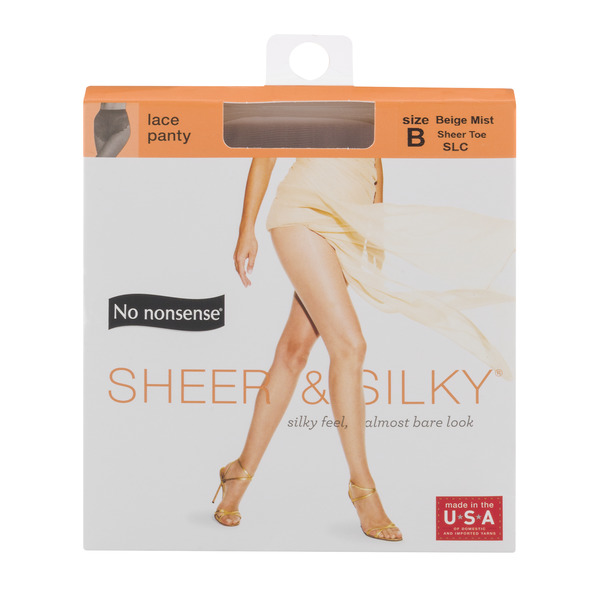 No nonsense Sheer & Silky Lace Panty Size B Sheer Toe Beige Mist