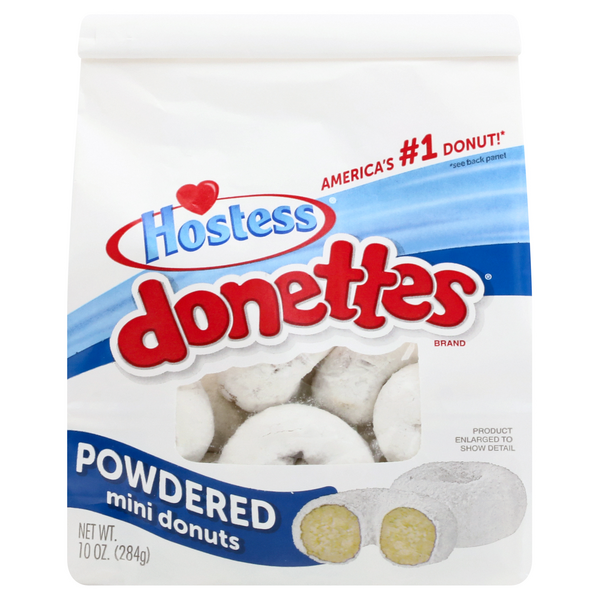 Hostess Donettes Mini Donuts Powdered - 20 ct