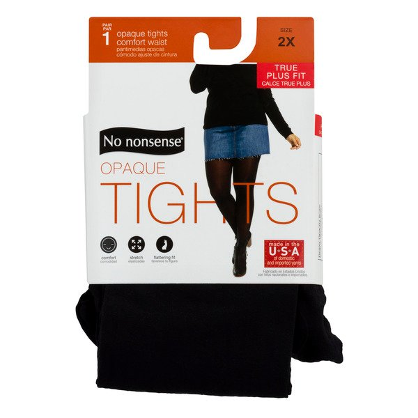 No nonsense Opaque Tights True Plus Fit Size 2X