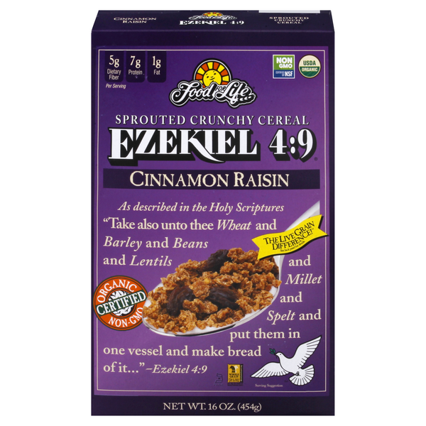 Food For Life Ezekiel 4:9 Cereal Sprouted Grain Flourless Cinnamon Raisin
