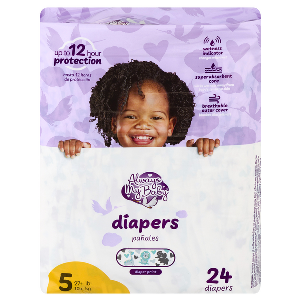Always My Baby Size 5 Diapers 27+ lbs Jumbo Pack