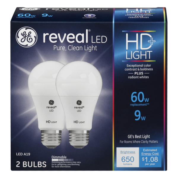 GE Reveal LED HD Light Bulb Dimmable 60w Replacement