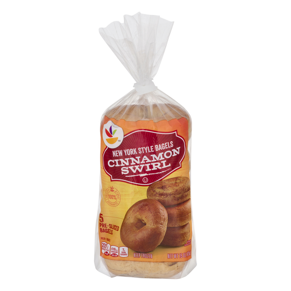 Stop & Shop New York Style Bagels Cinnamon Swirl Pre-Sliced - 5 ct Frozen