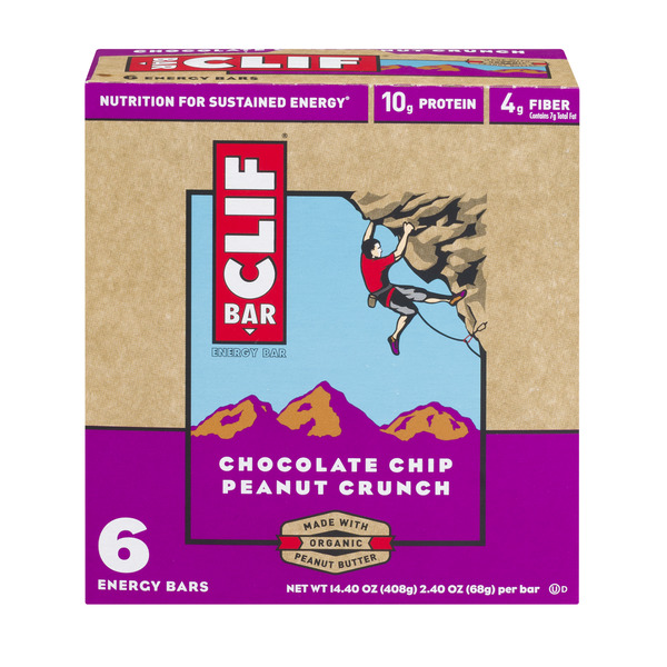 Clif Energy Bar Chocolate Chip Peanut Crunch - 6 ct