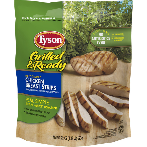 Tyson Grilled & Ready Chicken Breast Strips Fully Cooked Frozen