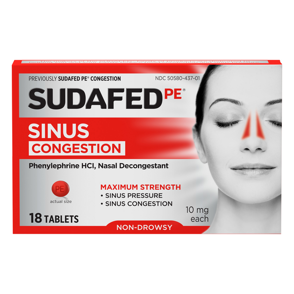Sudafed PE Congestion Sinus Pressure Relief Maximum Strength Non-Drowsy