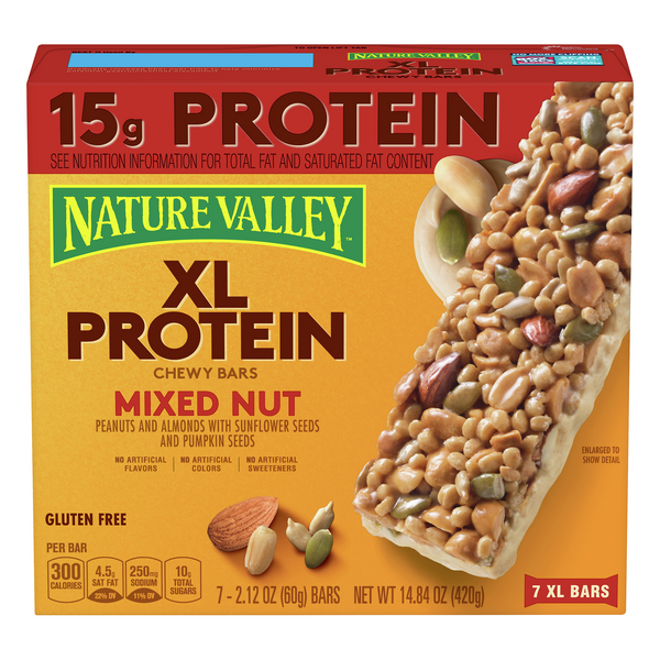 Nature Valley XL Protein Chewy Bars Mixed Nut Gluten Free - 7 ct