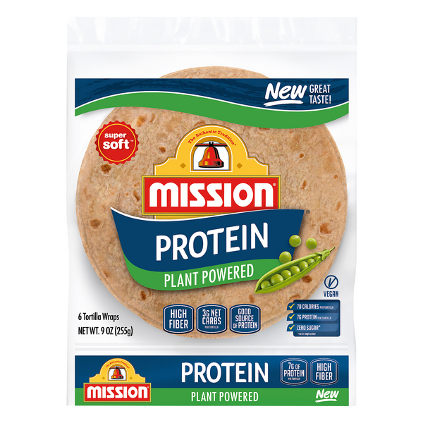 Mission Tortilla Wraps Vegan Protein Plant Powered Super Soft - 6 ct