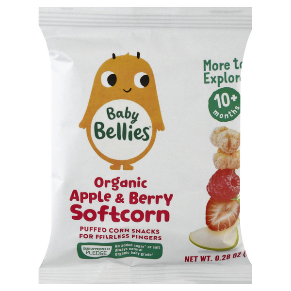 Baby Bellies Puffed Soft Corn Snacks Apple & Berry 10+ Months Organic