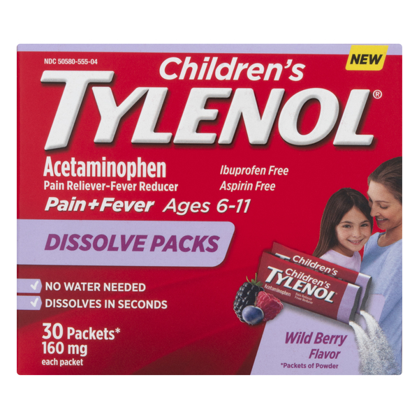 Tylenol Children's Dissolve Packs Acetaminophen 160 mg Wild Berry