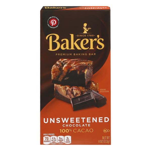 Baker's Premium Baking Bar Unsweetened Chocolate 100% Cacao
