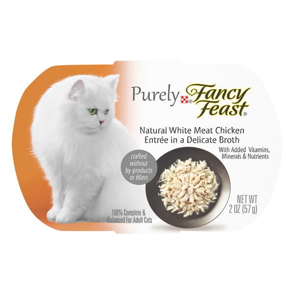 Purely Fancy Feast Adult Wet Cat Food Natural White Meat Chicken in Broth