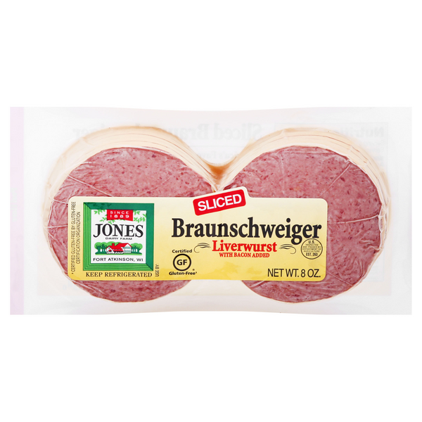 Jones Dairy Farm Braunschweiger Liverwurst with Bacon Sliced Gluten Free