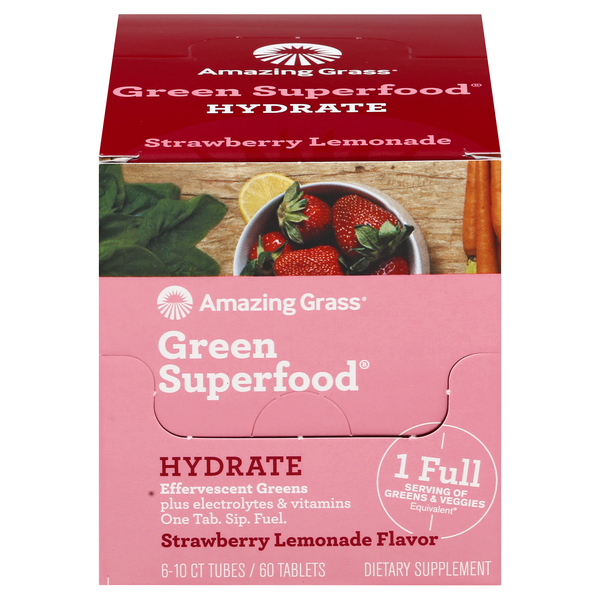 Amazing Grass Green Superfood Hydrate Dietary Supplement Strawberry Lemonade