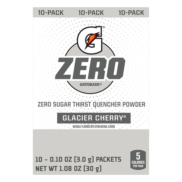 Gatorade Zero Thirst Quencher Powder Packets Glacier Cherry - 10 ct
