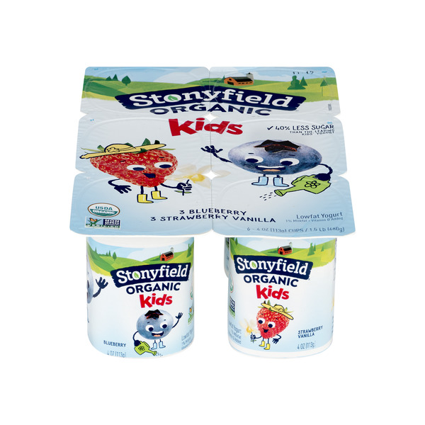Stonyfield YoKids Yogurt Straw Vanilla & Blueberry Low Fat Organic - 6 ct