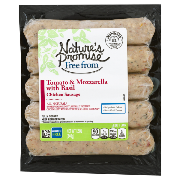 Nature's Promise Free from Chicken Sausage Tomato Mozzarella Basil - 5 ct