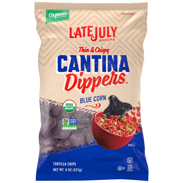 Late July Snacks Tortilla Chips Cantina Dippers Blue Corn Organic