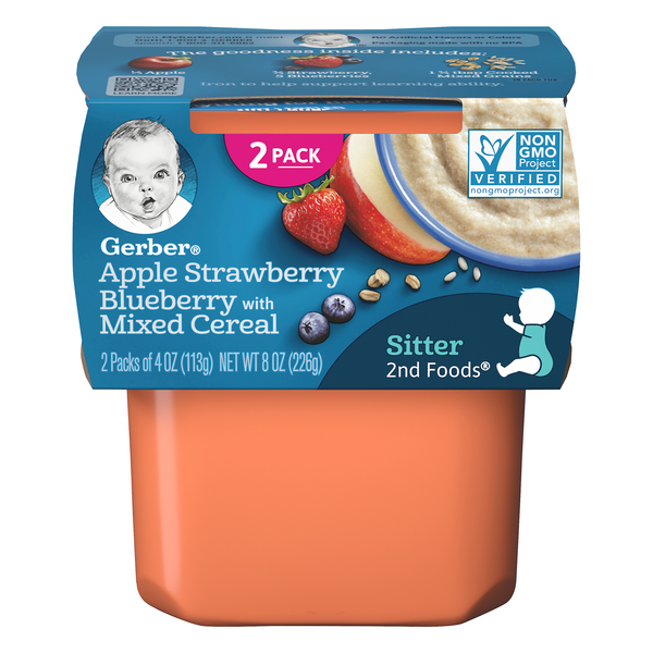 Gerber 2nd Baby Food Apple Strawberry Blueberry with Mixed Cereal - 2 ct