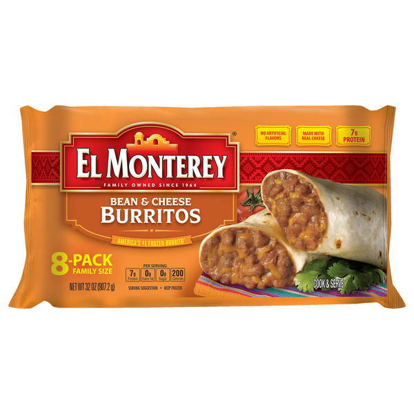 El Monterey Burritos Bean & Cheese Family Pack - 8 ct