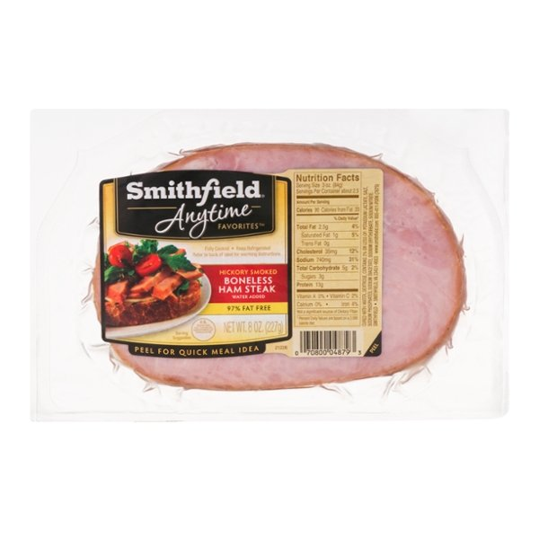Smithfield Anytime Favorites Ham Steak Boneless Hickory Smoked
