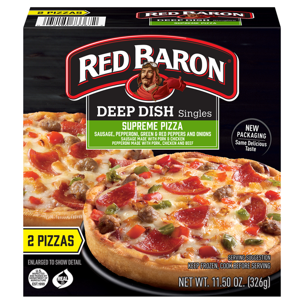 Red Baron Singles Deep Dish Pizza Supreme - 2 ct