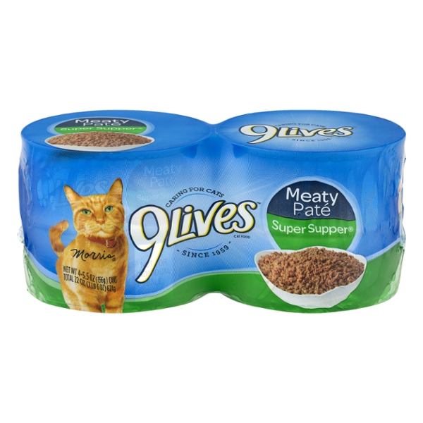 9Lives Meaty Pate Wet Cat Food Super Supper - 4 ct