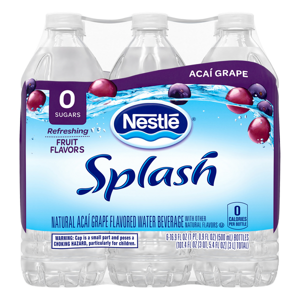 Nestle Pure LIfe Splash Flavored Water Beverage Acai Grape - 6 pk