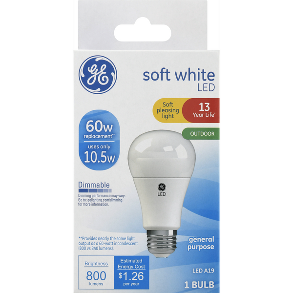 GE LED Outdoor Light Bulb Soft White Dimmable 60w Replacement