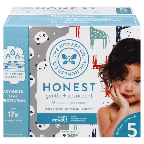 Honest Gentle + Absorbent Size 5 Diapers 27+ lbs