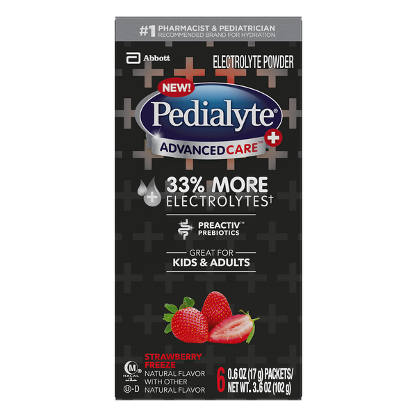 Pedialyte Advanced Care Electrolyte Powder Strawberry Freeze - 6 ct