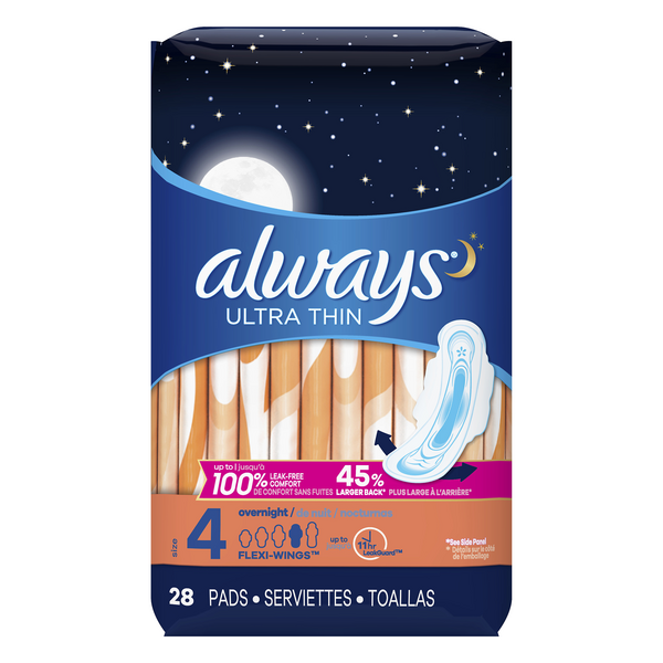 Always Ultra Thin Pads with Flexi-Wings Overnight Size 4