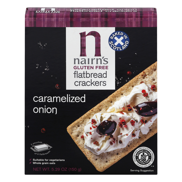 Nairns Flatbread Crackers Caramelized Onion Gluten Free