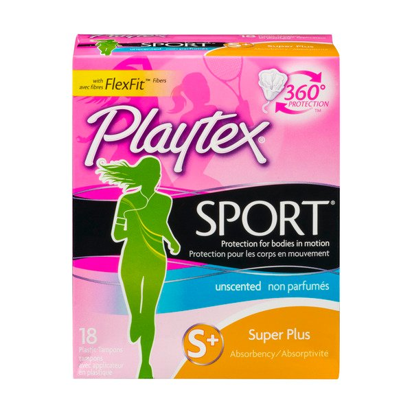 Playtex Sport Unscented Plastic Tampons Super Plus