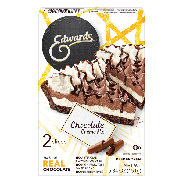 Edwards Pie Singles Chocolate Creme - 2 slices Thaw & Serve Frozen