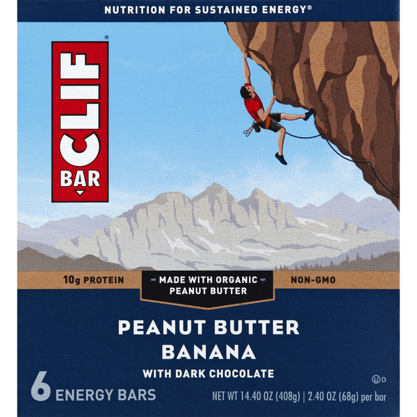 Clif Energy Bars Peanut Butter Banana with Dark Chocolate - 6 ct