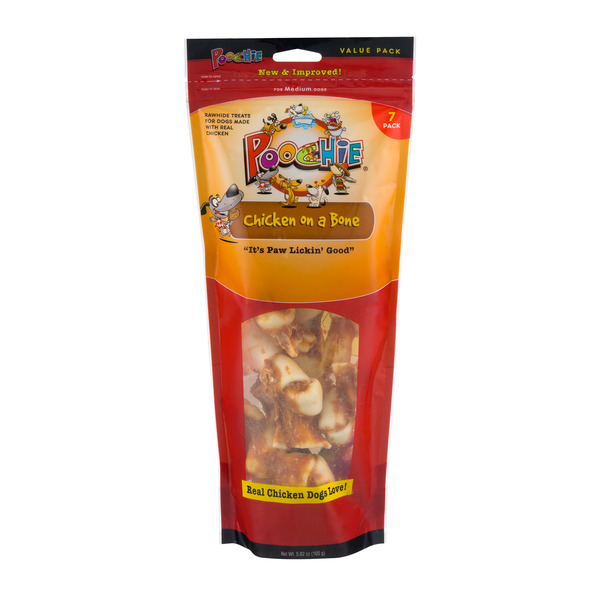 Poochie Rawhide Treats Chicken On A Bone for Medium Dogs