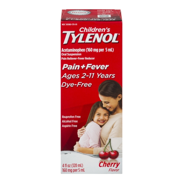 Tylenol Children's Pain + Fever Acetaminophen Ages 2-11 Dye-Free Cherry