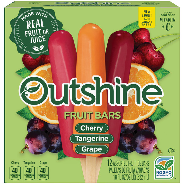 Outshine Fruit Bars Cherry/Tangerine/Grape Variety Pack - 12 ct