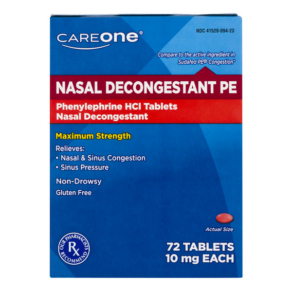 CareOne Nasal Decongestant PE Phenylephrine HCI 10 mg Tablets
