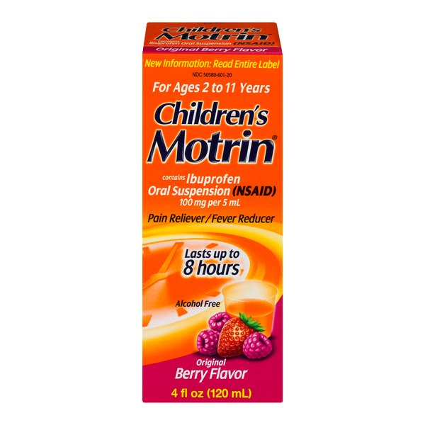 Motrin Children's Pain Reliever/Fever Reducer Berry Flavor Ages 2 - 11
