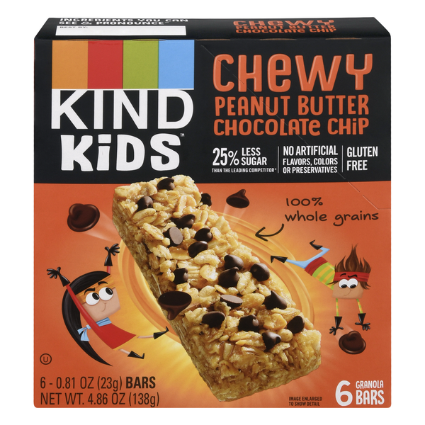 KIND Kids Granola Bars Chewy Peanut Butter Chocolate Chip - 6 ct