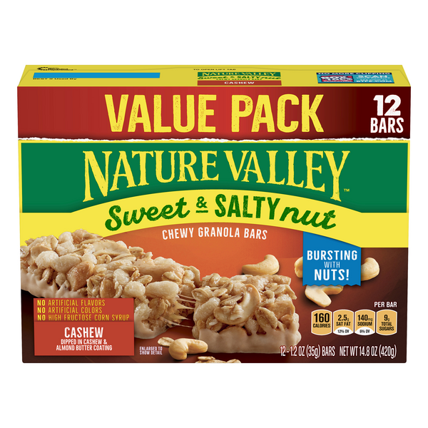 Nature Valley Sweet & Salty Nut Granola Bars Cashew - 12 ct