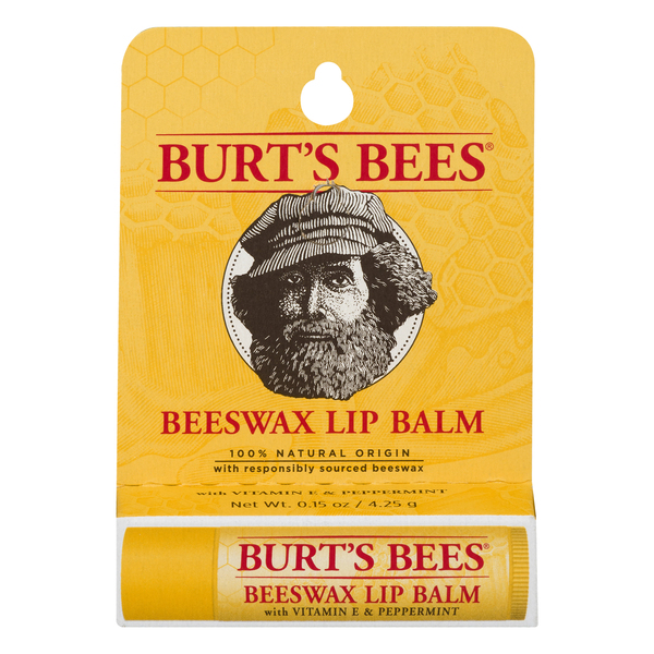 Burt's Bees Beeswax Lip Balm with Vitamin E & Peppermint 100% Natural