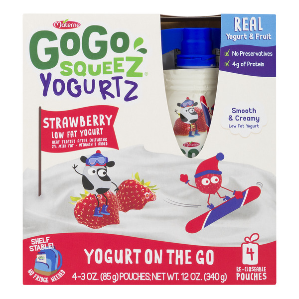 GoGo squeeZ Yogurtz on the Go Pouches Strawberry Low Fat - 4 ct