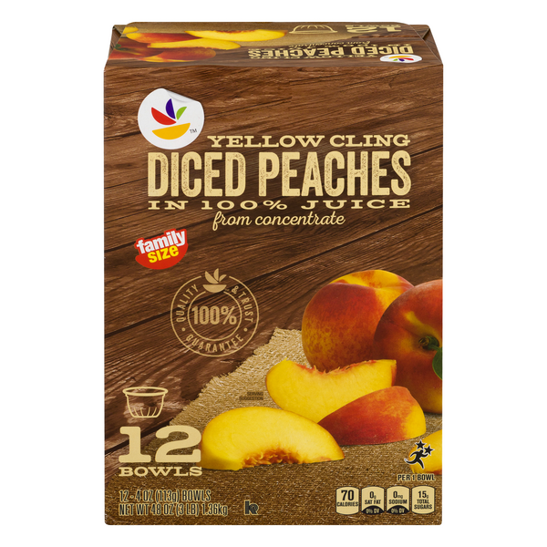 MARTIN'S Yellow Cling Diced Peaches in 100% Juice Family Size - 12 ct