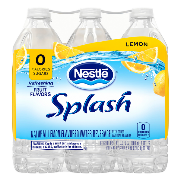Nestle Splash Flavored Water Beverage Lemon - 6 pk